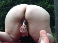 Glorycouple Mrs G is locked out and needs to pee, caught in the garden
