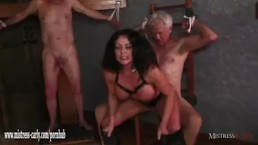 Hot Mistress feeds cuckold sla