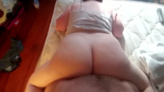 My Big White Booty Bouncing on his cock until he cums on my titties  ass eating big booty big ass cum on tits big tits ass reverse cowgirl redhead cumshot pov pawg doggy butt big boobs white booty big butt