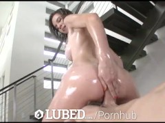 LUBED CeCe Capella lubes up whole body for slippery sexy fuck