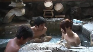 Subtitled uncensored Japanese mixed bathing threesome in HD  fellatio bathhouse subtitled oral pale asian blowjob onsen zenra subtitles japanese bath 3some japan threesome uncensored