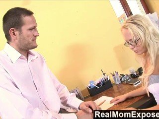 RealMomExposed - Milf neglects her job but certainly not the boss's cock