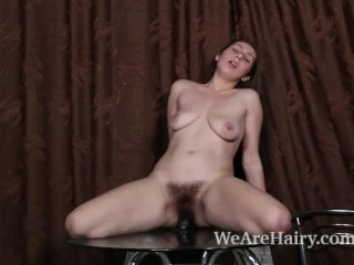 Baby Boom masturbates with her big black dildo