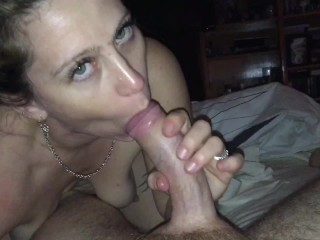 Late night sensual blowjob w/oral cream pie (check out the bedroom eyes!)