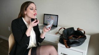 Ashley Alban - Secretary Red Lip Stick Blowjob  red lipstick blowjob bi dick big tits high heels babe blowjob amateur tattoo fetish striptease secretary brunette stockings deep throat brunette teen dirty talk