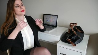 Ashley Alban - Secretary Red Lip Stick Blowjob  deep throat dirty talk high heels red lipstick blowjob bi dick brunette teen big tits babe blowjob amateur tattoo fetish brunette stockings striptease secretary