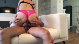 MILF kept her pink panties for fucking