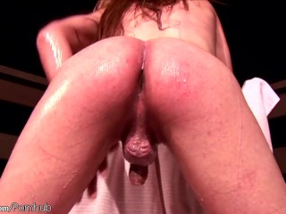 Small tits tranny in black lingerie strips and baths in milk