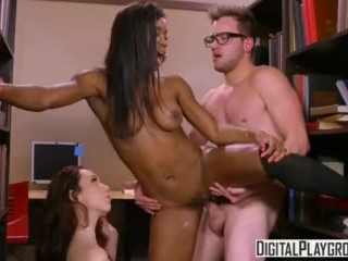 Study Group - Aria Alexander and Mya Mays share one lucky cock