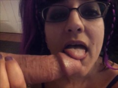 Cock can only last two minutes before blasting my face with cum