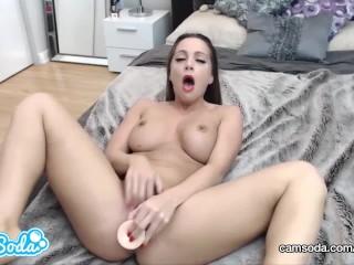 Abigail Mac dildo sucking and masturbating until massive orgasm.