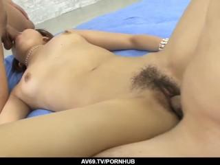 Sensational outdoor threesome sex with nude Mahiru Tsubaki