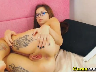 Sexy Babe with Tattoo Masturbating her Tight Cunt