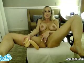 Brandi Love big tits milf deep throating and fucking dildo.