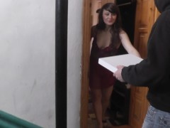 Pizza delivery. Naked in public. Woman without panties opened door. Spying