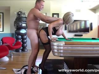 Hubby Fucks Neighbor Bent Over Pool Table
