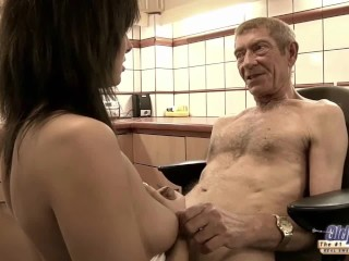 Old Young Teen hairy pussy fucked by old man she rubs dick swallows jizz