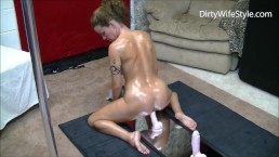 Horny hot wife rides 3 dildos