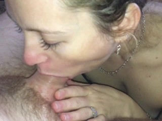 """""""Fucking gag on that cock"""" horny husband tells sexy wife (facial finish)"""