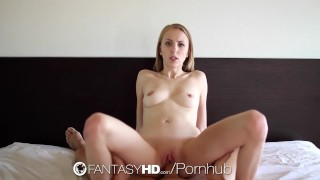 FantasyHD Petite blonde Jenna Marie toys pussy before fuck