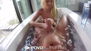 POVD Blonde Elsa Jean bath rub in the tub before fuck and facial