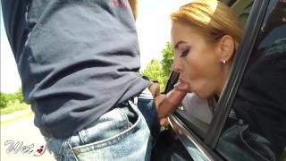Amateur risky blowjob cum swallow in a big street