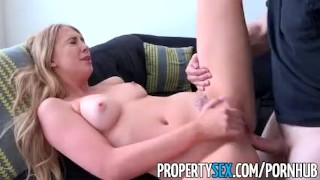PropertySex - Landlord gets fucked by criminal tenant  doggy style point of view funny blonde cumshot pov missionary hardcore cowgirl swallow orgasm tenant bubble butt eviction propertysex landlord