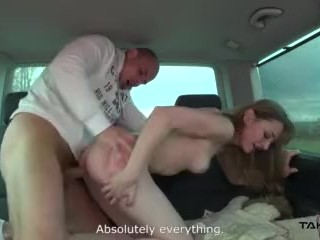 Takevan Arranged fake date brings super horny milf to driving van for fuck