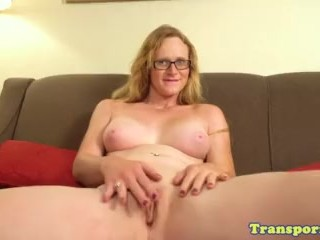 Post op mature trans toying her new pussy