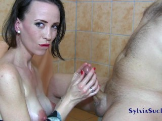 SYLVIA CHRYSTALL ORIENTAL JAPANESE MAJESTIC HANDJOB, TITTY FUCK AND CUMPLAY