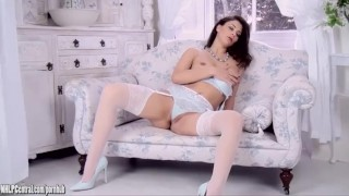 Roxy Mendez releases big tits masturbating in pale blue lingerie and heels