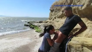 Beach fun Jahan & Jayla  beach swallow big black dick outdoor blowjob big cock outside teen cumshot couple
