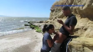 Beach fun Jahan & Jayla cumshot outdoor blowjob big cock couple swallow outside beach big black dick teen