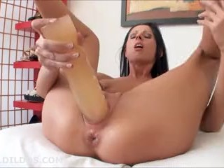 hot brunette fucking her tight pussy with a huge brutal dildo in hd