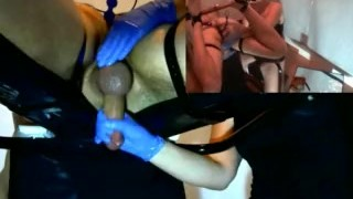 Femdom Cock Milking with Anal Play  prostate milking denial tied tease slave bdsm femdom amateur pip cum massage handjob bound bondage anal orgasm