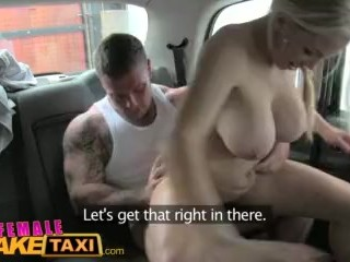 Female Fake Taxi Stud covers sexy drivers big tits in cum