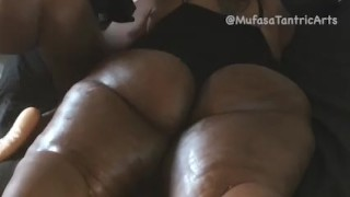 Juicy Black BBW Milf Get Fat Ass Oiled Up, Strapped Down& Whipped by Stud