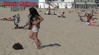 HOT BRUNETTE SUCKS MY DICK ON THE BEACH  big ass antonio mallorca bi dick babe outside kissing amateur blowjob public brunette reality latin big boobs barcelona bubble butt public beach sex