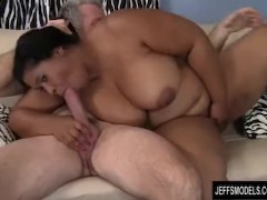 Ebony Plumper Has Her Mouth and Pussy Filled with White Cock