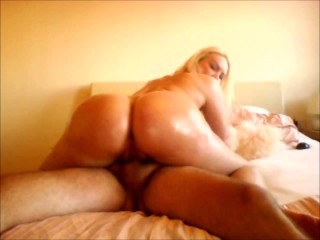 Big round ass oiled up riding cock