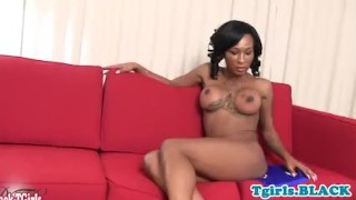 Beautiful ebony trans tugs and twerks solo