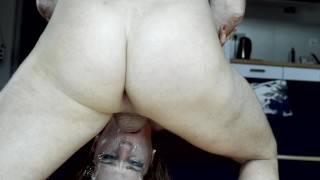 Reverse and Upside Down sloppy deepthroat with a Cute Blond with big tits.