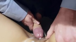 Naked Asian fucks her suit-wea
