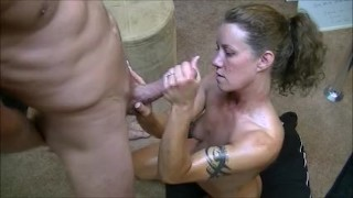 Hotwife gives 2 handjobs to husband while telling him about her gangbangs  home made hotwife cuckold amateur cumshot cum milf handjob real slut orgasm cock ring dirty talk