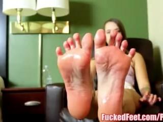 Teen Liza Rowe Gives First Footjob for FuckedFeet!