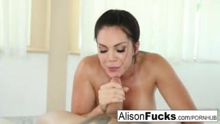 Alison Tyler gives a sexy blow job with titty fucking