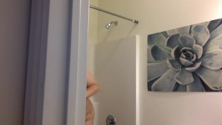 SPY ON MY SHOWER!  big boobs bathroom spy cam bbw teen big tits chubby
