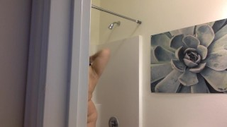 SPY ON MY SHOWER!  big boobs bbw teen bathroom spy cam big tits chubby