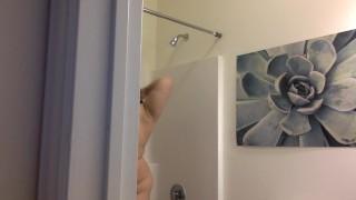 SPY ON MY SHOWER! big boobs chubby bathroom spy cam big tits bbw teen