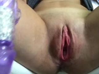 Close up of pulsating pussy orgasm : I taste my new dildo